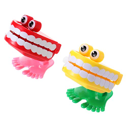 NUOBESTY 2 stücke Wickeln Spielzeug uhrwerk Walking plappern zähne mit Auge Spielzeug für Geburtstag gastgeschenke liefert Geschenk Tasche filers (zufällige Farbe)
