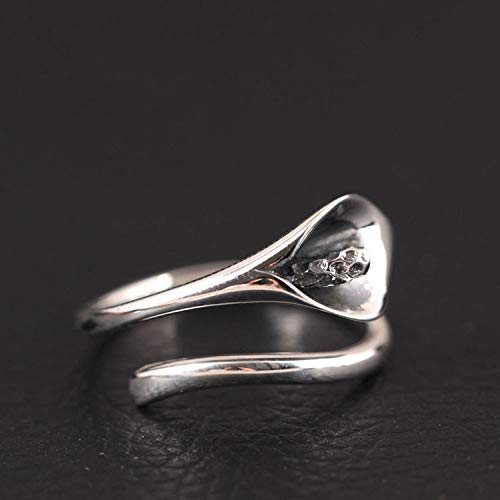 ZHOUBINBIN 925 Sterling Silver Ring,Adjustable Ring Retro Calla Lily Open Ring Female Simple Literary Ethnic Flowers Jewelry Christmas Anniversary Valentine'S Birthday Gift