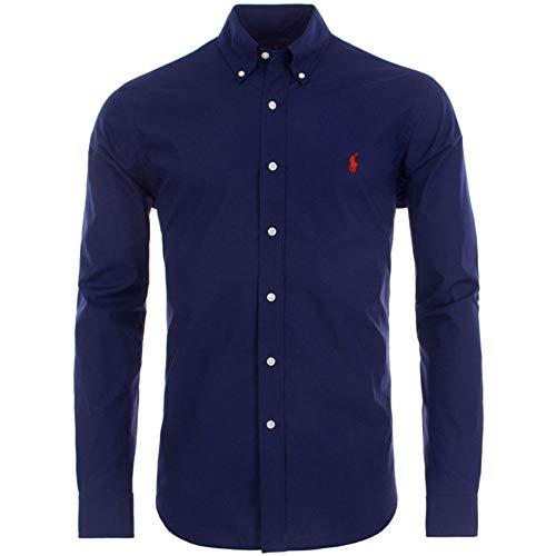 Ralph Lauren Polo Shirt Mens Navy Poplin Performance Slim Fit X-Large