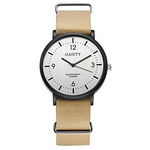 GAIETY Reloj de pulsera elegante para hombre, correa de PU cómoda informal de negocios, esfera ultrafina, reloj de pulsera de cuarzo