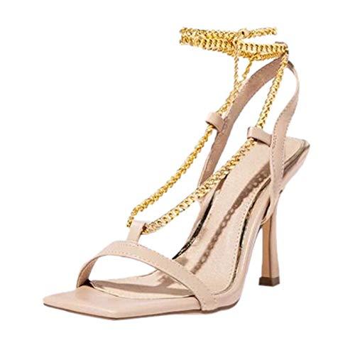 Sandalen Damen Mode Kreuzkette Große Größe Reine Farbe High Heel Sandalen (37,beige)