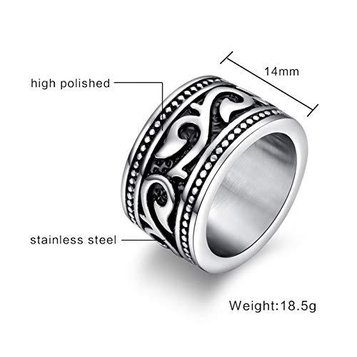 ERDING Fashion Cadeau/Heren Ringen Zware Brede Vintage RVS Ring Zwart Zilver Toon Bruiloft Band voor Mannen US maat 7 8 9 10 11 12