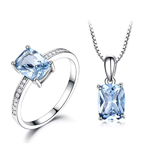 Daesar 925 Sterling Silver Ring Necklace Women Rectangle Cubic Zirconia Blue Jewelry Set Women Ring Size P 1/2