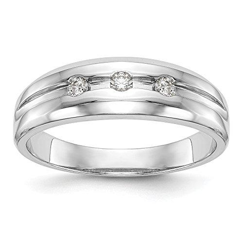14K oro blanco diamante banda para hombres tamaño 10(H/SI2, 0,15ct)