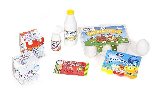 Polly Kaufladen Zubehör Set Eier/ Fruchtzwerge/ Actimel/ Holzmilchflasche| Kinder Spielzeug für den Kaufmannsladen | Kinderkaufladen Miniaturen