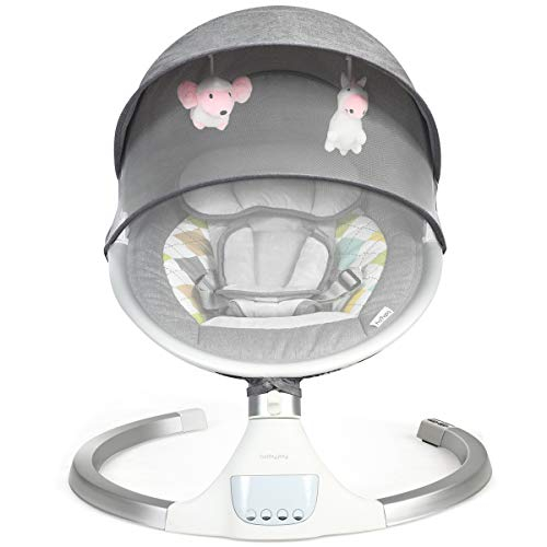 BABY JOY Baby Swing, Bluetooth Baby Rocker w/Removable Crib Netting, Toys, 5-Point Harness, Music, USB, Electric Cradling Bouncer w/ 5 Swing Amplitudes & Timing Function for Newborn Infant (Gray)
