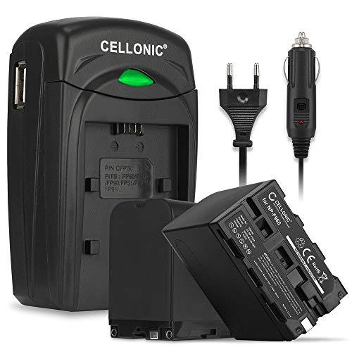 2x Akku kompatibel mit Sony FDR-AX1 HDR-FX1 -FX1000 -FX7 DSR-PD150 -PD170 DSR-250 DCR-VX2000 -VX2100e GV-D800 -D200 HDV-Z1 Ersatzakku NP-F970 NP-F960 Ladegerät BC-VM50 KFZ Ladekabel Auto Batterie