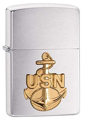 Zippo USN Emblem, Accendino Antivento, Ricaricabile a Benzina Unisex-Adulto, Cromo, Regular 5.7 x 3.7 x 1.2 cm