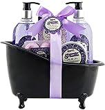 BRUBAKER Bade-Geschenkset Lavendel Vanille mit Deko Badewanne schwarz 8-teilig
