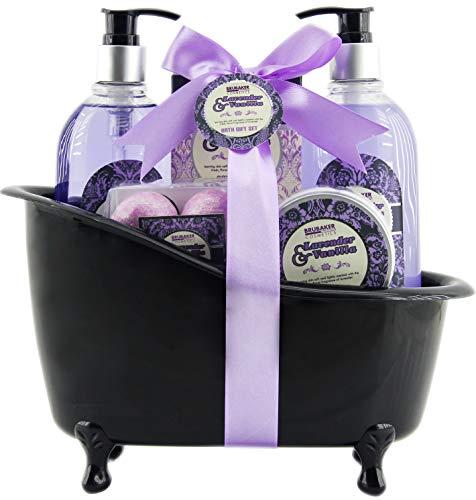 BRUBAKER 'Lavender Vanille Love' Set de regalo de baño con bañera negro, 8 piezas