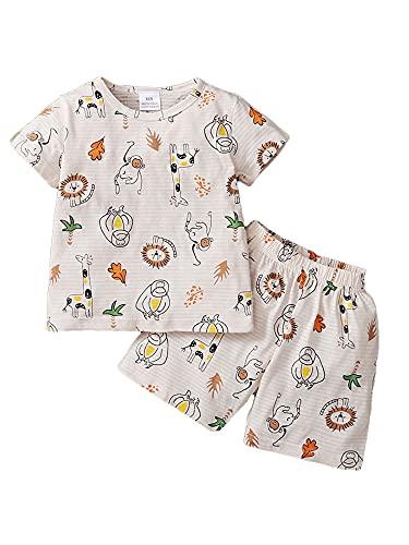 Conjunto de ropa de 2 piezas de ropa de manga corta con dibujos animados para niños pequeños