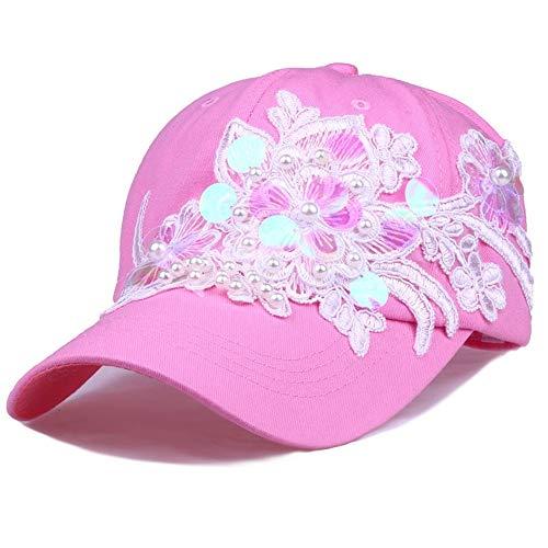 BAACHANG Sombrero De La Mujer Moda Lentejuelas Flor Set Perla Gorra De Béisbol Sombrero De Algodón AliExpress Ebay Dunhuang Taobao Suministro (Color : Pink2)