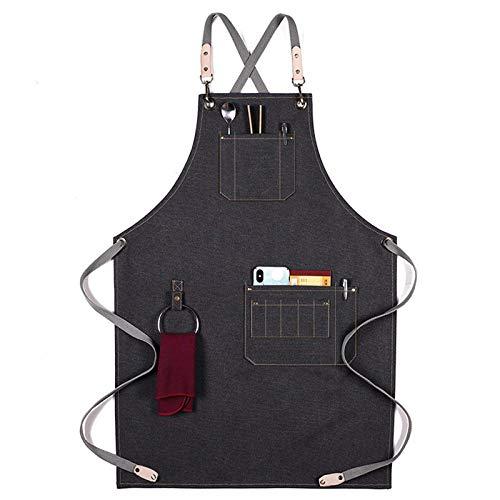QAQWER Lienzo Delantal Unisex Babero Chef Delantales De Cocina para Mujeres Hombres Cafetería Barbacoa Babero Uniforme De Trabajo (2PCS),A6