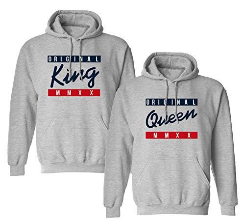 King Queen Pullover Original Partner Pullover Valentinstag Couple Geschenke Pärchen Hoodie Partnerlook Pulli für Paar Liebespaar Mr Mrs Shirt 1 Stück