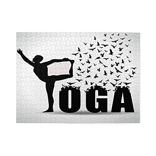 Rompecabezas de 500 piezas,infografía de World Yoga Dayyoga con pájaros volando,diseño de salud y fitness,juego de rompecabezas para familias numerosas,ilustraciones para adultos y adolescentes