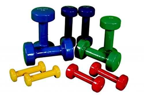 OSG - Manubri rivestiti in vinile per sollevamento pesi, per allenamento, Rosso, 2 x 1.0kg