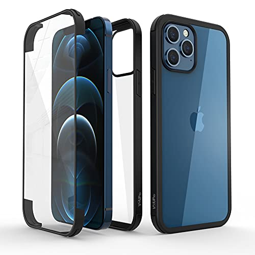 VVUPIC Glass+ Case Compatible with iPhone 12 Pro 6.1 inch, 2020 Full-Body Clear Bumper Case with Built-in 9H Tempered Glass Screen Protector