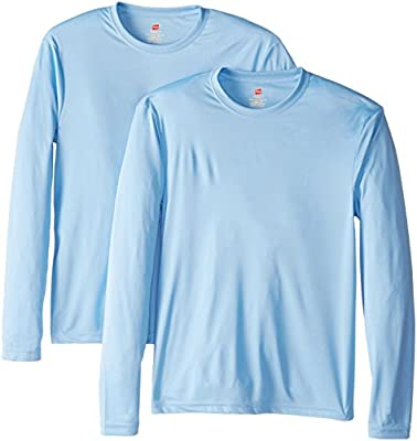 Hanes Men's Long Sleeve Cool Dri T-Shirt UPF 50+, XX-Large, 2 Pack ,Light Blue