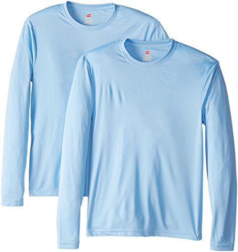 Hanes Men's Long Sleeve Cool Dri T-Shirt UPF 50+, Medium, 2 Pack ,Light Blue