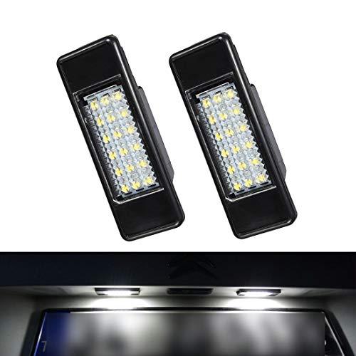 VIGORFLYRUN PARTS LTD 2pcs LED Luz de Matrícula Bombilla Licencia Número Placa Lámparas de Luz para Peu/geot 106 1007 207 307 308 3008 406 407 508 806 Ci/TROEN C2 C3 C4 C5 C6 DS3
