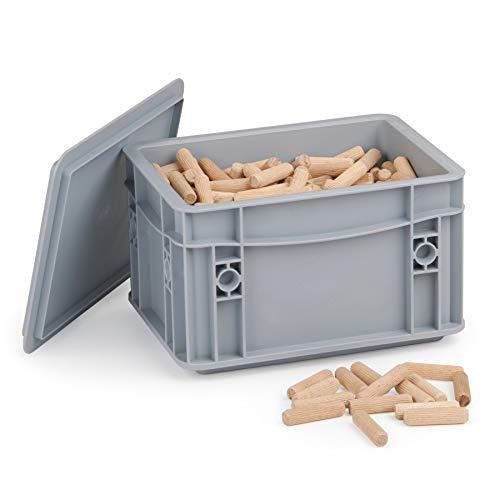 Langholzdübel 8 mm x 35 mm | Dübel aus Buche | Holz Dübel 8 mm | Ideal geeignet für Dübelfräse & Lamellofräse | Riffelholzdübel 1kg Systembox