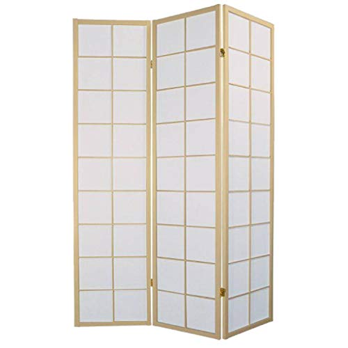 Fine Asianliving Japanische Paravent Raumteiler Shoji Japanischer Paravent Raumteiler Trennwand B135xH180cm 3-teilig Shoji Reispapier Naturell