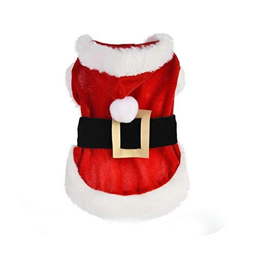 Abrigo con capucha para perro, Navidad, Santa Pet, disfraz para perros pequeos, invierno, chaquetas, cachorros, gatos, ropa de Chihuahua, Yorkie