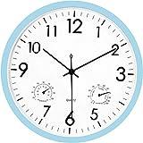 Foxtop Moderno Silencioso Reloj de Pared sin Tic TAC con Termómetro e Higrómetro, Mide Temperatura y Humedad, 30 cm Diámetro, Funciona con Pilas, Color Azul