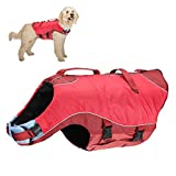 Kurgo Surf n' Turf Dog Life Jacket | Lifejacket for Dogs | Dog Water Life Vest | Kayak Life Jacket for Pets | Dog Rain Jacket | for Pool or Lake | Reflective | Machine Washable | Chili Red | 5 Sizes