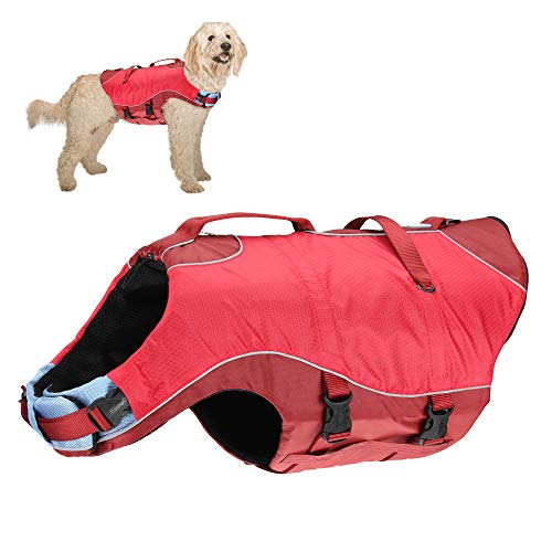 Kurgo Dog Water Life Jacket, Inflatable Safety Jacket for Dogs, Lifejacket Doggy Floats for Kayak, Pool or Lake, Reflective, Adjustable, Surf n' Turf Life Jacket for Small Medium Large Pets
