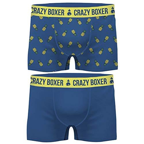 Crazy Boxer Herren T471-1-x Basic-Calzoncillos Tipo bóxer para Hombre (Certificado GOTS, 2 Unidades) Crazy Piña XL