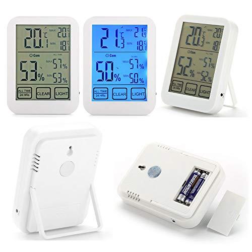 Mini Indoor Outdoor-Monitor Temperaturmonitor und Feuchtigkeitsmessgerät, Digital Wireless Hygrometer Thermometer mit großem Touchscreen für Home Office