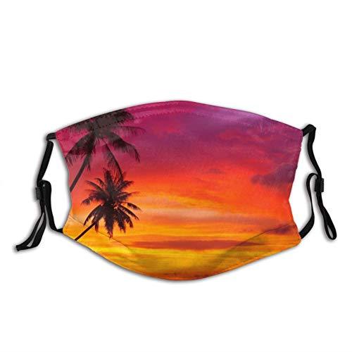 Rosa naranja Palmera Sunset Face M-A-S-K con filtros, lavable reutilizable bufanda pasamontañas, para mujeres, hombres, adultos y adolescentes