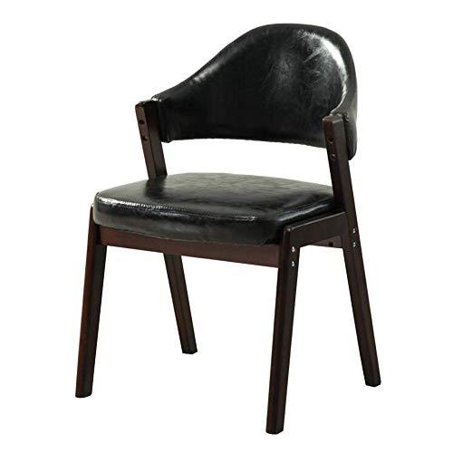 G.S.N. GSN Einfaches Einzelzimmer Schreibtisch Armlehne Computer Mode Rücken Curvature After-Sale-Service Maßbild Pu + Buche Sessel (Color : Black, Size : Walnut Color)