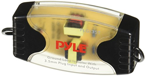 Portable Stereo Ground Loop Isolator - 3.5mm / 1/8'' Female Stereo Audio Input/Output, Compatible Model, Eliminate Engine Noise, Compact & Designed for Use w/ Same Audio Players - Pyle PLGI35T