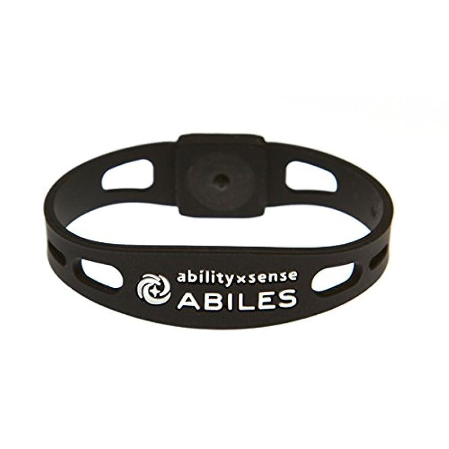 架空のアルファベット順ストライク血行促進 ABILES PLUS(アビリスプラス)ブレスレット&アンクレット ブラック(Mサイズ?18cm)