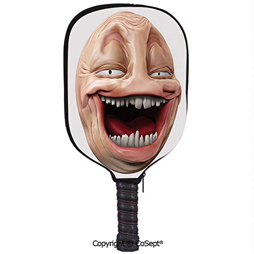 Neoprene Racket Set,Poker Face Guy Meme Laughing Mock Person Smug Stupid Odd Post Forum Graphic,Protect Your Paddles from Scrapes & Dings(8.26x11.61 inch) Peach Pearl