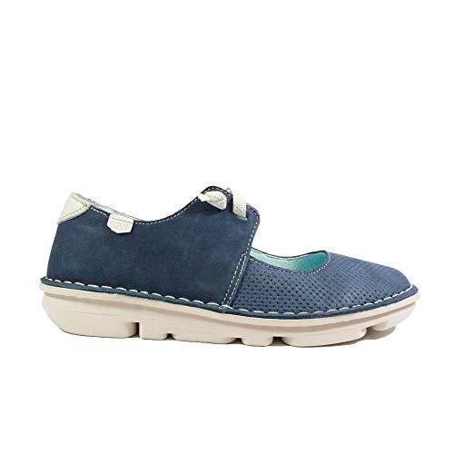On Foot Francesita Elasticos 30100 Navy Nubuck Leather Womens Mary Jane Slip On Shoes