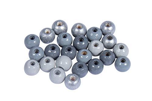Rayher 12204570 Holz Perlen Mischung, FSC zertifiziert, poliert, 6 mm ø, Grau-Silber-Töne, 116 Stück, Buchenholz, schweiß- und speichelecht, Schmuckperlen, Perlen für Baby-Schnullerketten
