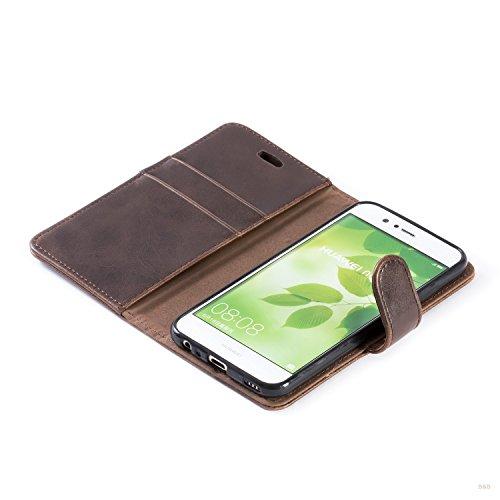 Mulbess Handyhülle für Huawei Nova 2 Hülle, Leder Flip Case Schutzhülle für Huawei Nova 2 Tasche, Vintage Braun - 5