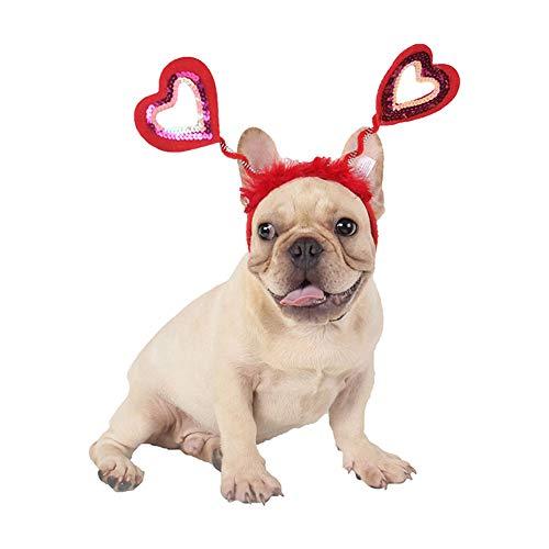 Yiwa Kerstaccessoire, schattig, voor huisdieren hond kat liefde vorm haarband mode
