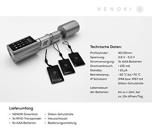 NENOKI Smartlock - elektronischer Schließzylinder mit PIN-Code, RFID- & APP-Steuerung (elektronisches Türschloss), 40/30mm (aussen/innen) - 9