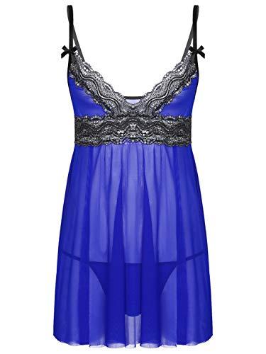 Aislor Homme Sissy Lingerie Pyjama Robe de Chambre en Tulle Travesti Nuisette Vêtements de Nuit Cosplay Costume Carnaval Soirée Party Nightwear Sleepwear M-XXL Bleu Royal XXL