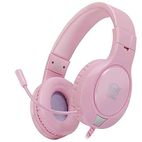 Gaming Headset for Xbox One, PS4,Nintendo Switch, Bass Surround and Noise Cancelling with Flexible Mic, 3.5mm Wired Adjustable Over-Ear Headphones for Laptop PC iPad Smartphones (Pink)