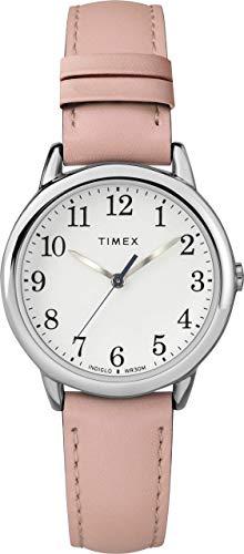 Timex Reloj Easy Reader de 30 mm para Mujer con Caja en Tono Plateado y Correa de Cuero Rosa TW2U29700