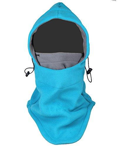 Tahbilk Balaclava Fleece Hood,Heavyweight Cold Weather Winter Motorcycle,Windproof Ski Mask,Ski&Snowboard Gear (Blue+Grey)