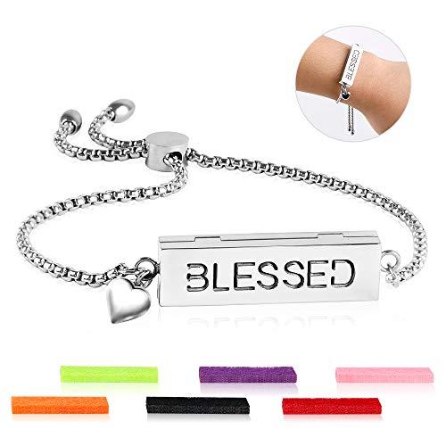 ttstar Essential Oil Diffuser Bracelet - Adjustable Slide Healing Bracelet with 316L Stainless Steel Locket Aromatherapy Bracelet Gift Mother