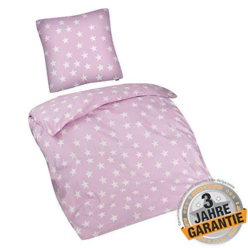 Aminata Kids Bettwäsche Stern-Motiv 135-x-200 rosa weiß Mädchen, Damen & Frauen - 2-teilig für Kinder, Baumwolle, mit Reißverschluss - Sterne Stars Rose Teenager, Jugendliche