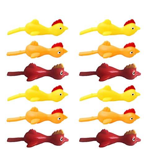 20pcs Schleuder Huhn Lustige Gummihuhn Flick Huhn Fliegen Huhn Flingers Stretchy Chicks Partei Aktivität for Kinder Erwachsene zcaqtajro