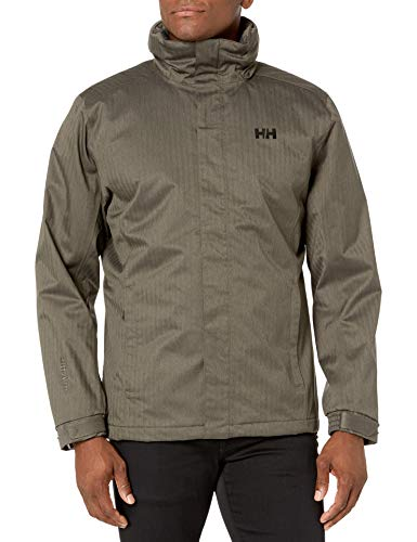 Helly Hansen Dubliner Waterproof Breathable Insulated Packable Hood Rain Coat Jacket Veste Homme, 483 Beluga Melange, S